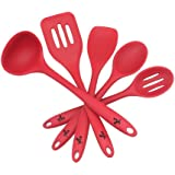 VVBOX Silicone Cooking Utensil Set 5pcs Kitchen Utensils Slotted Turner Solid Spoon Slotted Spoon Spatula Ladle - Red