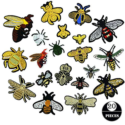 Iron On Patches, 20 PCS Embroidered Bee Patches Applique Kit Assorted Size Decoration Sew On Patches for T-Shirt, Skirt, Jeans, Vests, Hat