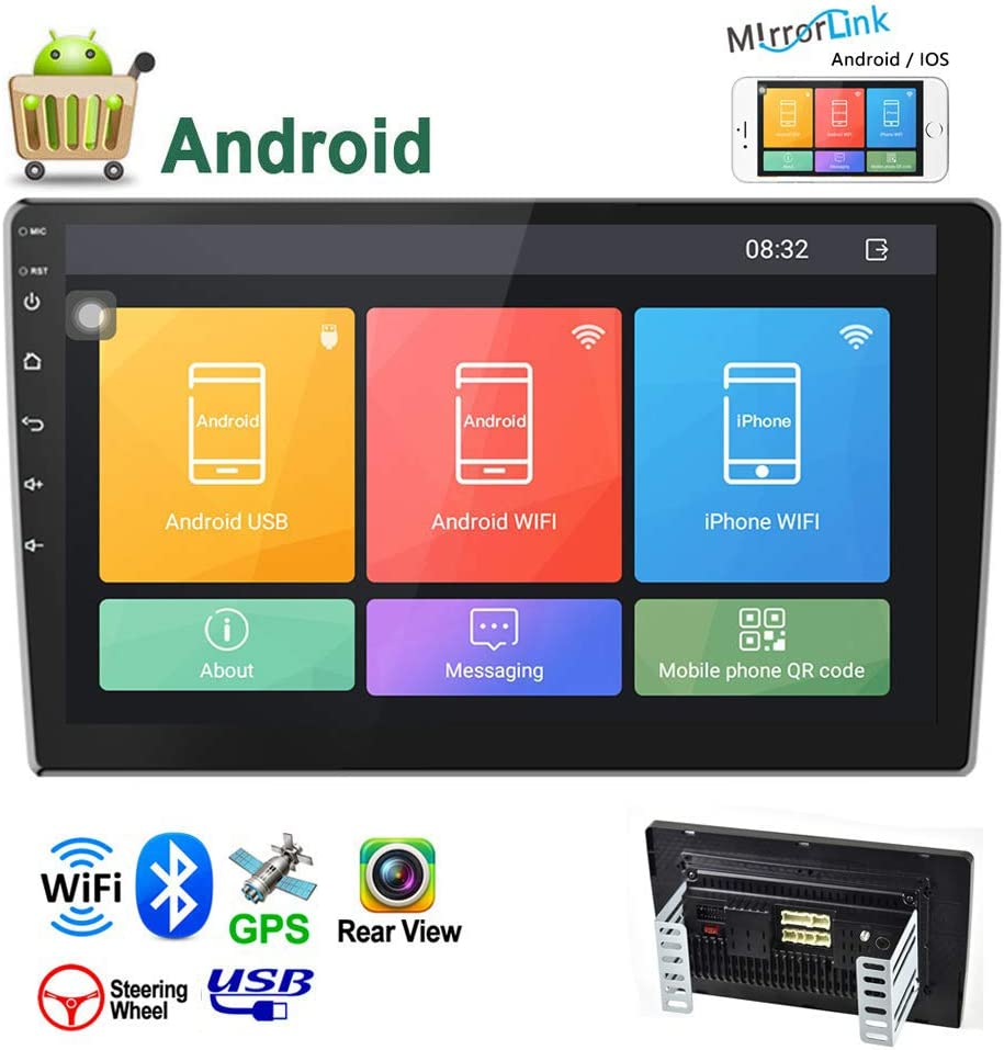 Camecho Android Double Din Car Stereo 10.1'' HD 2.5D Touch Screen GPS Navigation Radio Bluetooth FM Player Support Android/iOS Phone Mirror Link with WiFi/AUX/Dual USB/Backup Camera Input