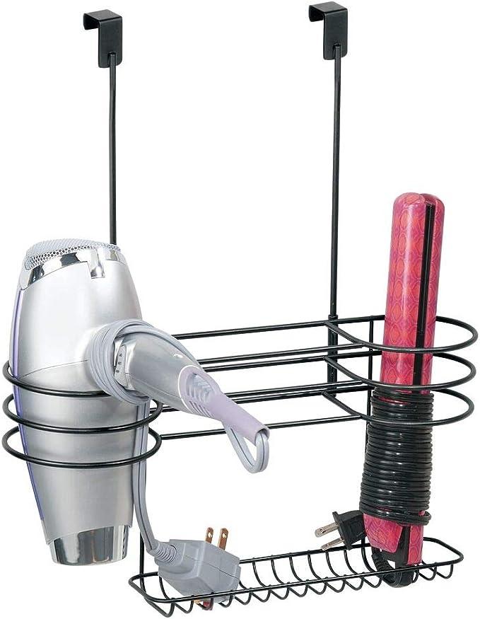 color bronce Organizador de ba/ño para secador Pr/áctico estante de ba/ño con 3 divisiones para utensilios de peluquer/ía mDesign Soporte de pared para secador de pelo plancha o rizador