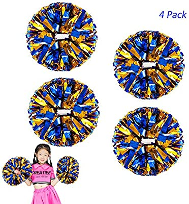 Hooshing Pack of 2 Cheer Pom Poms with Plastic Handle for Team Spirit Cheering Dance Kids Adults