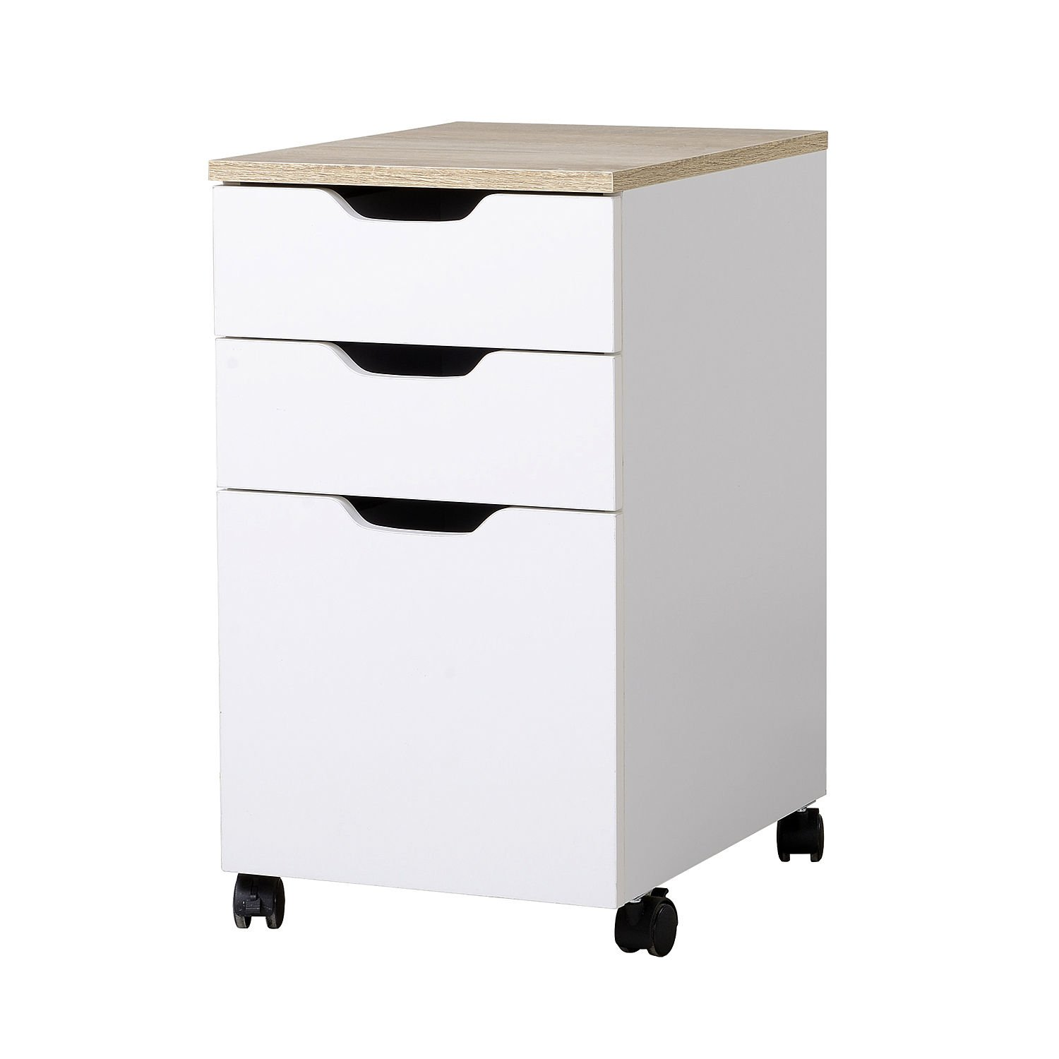 HomCom 24'' 3-Drawer Modern Rolling Storage Cabinet Office Supply Printer Cart with Locking Wheels by HOMCOM