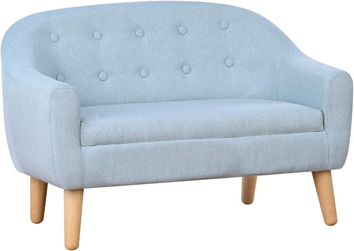 Sage 30-Inch Kids Sofa,Linen Fabric 2-Seater Upholstered Couch,Perfect for Children Gift