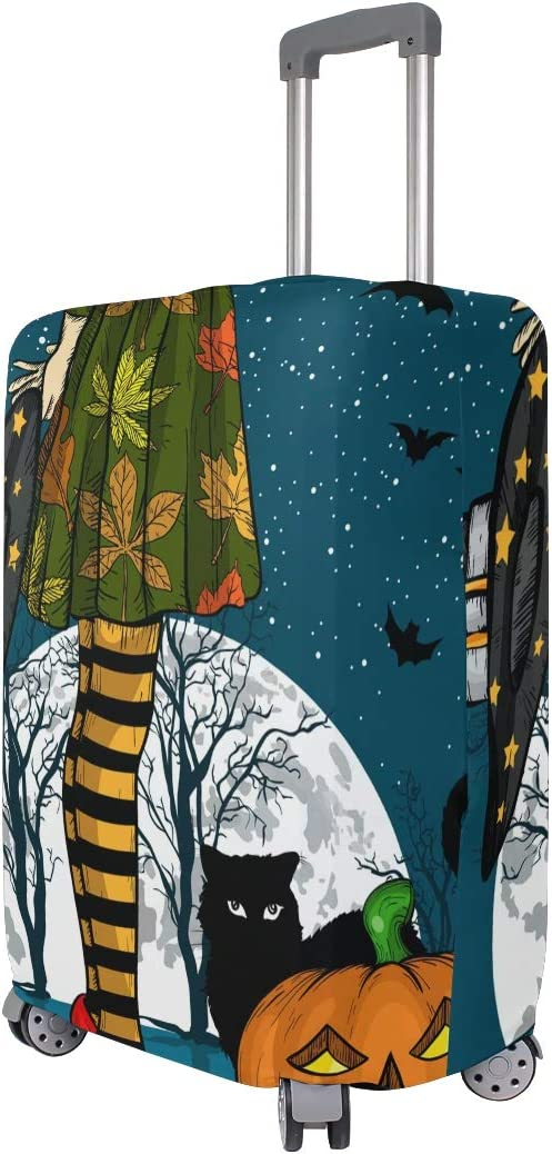 ALAZA Luggage Protector,Spooky Halloween Witch Feet Cat Pumpkin Elastic Travel Luggage Suitcase Cover,Washable and Durable Anti-Scratch Case Protective Cover for 18-32 Inches