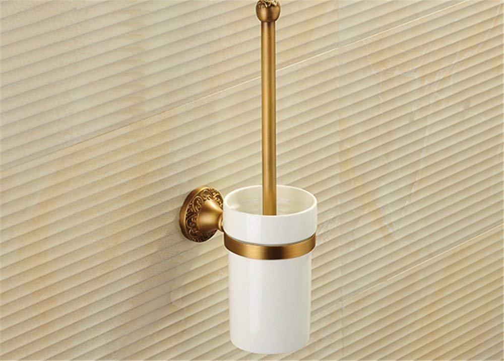 QiXian Toilet Brush Waste Bin Set Copper Antique Bath Rooms Bathrooms Toilet Brush Toilet Bowl Strong Sturdy