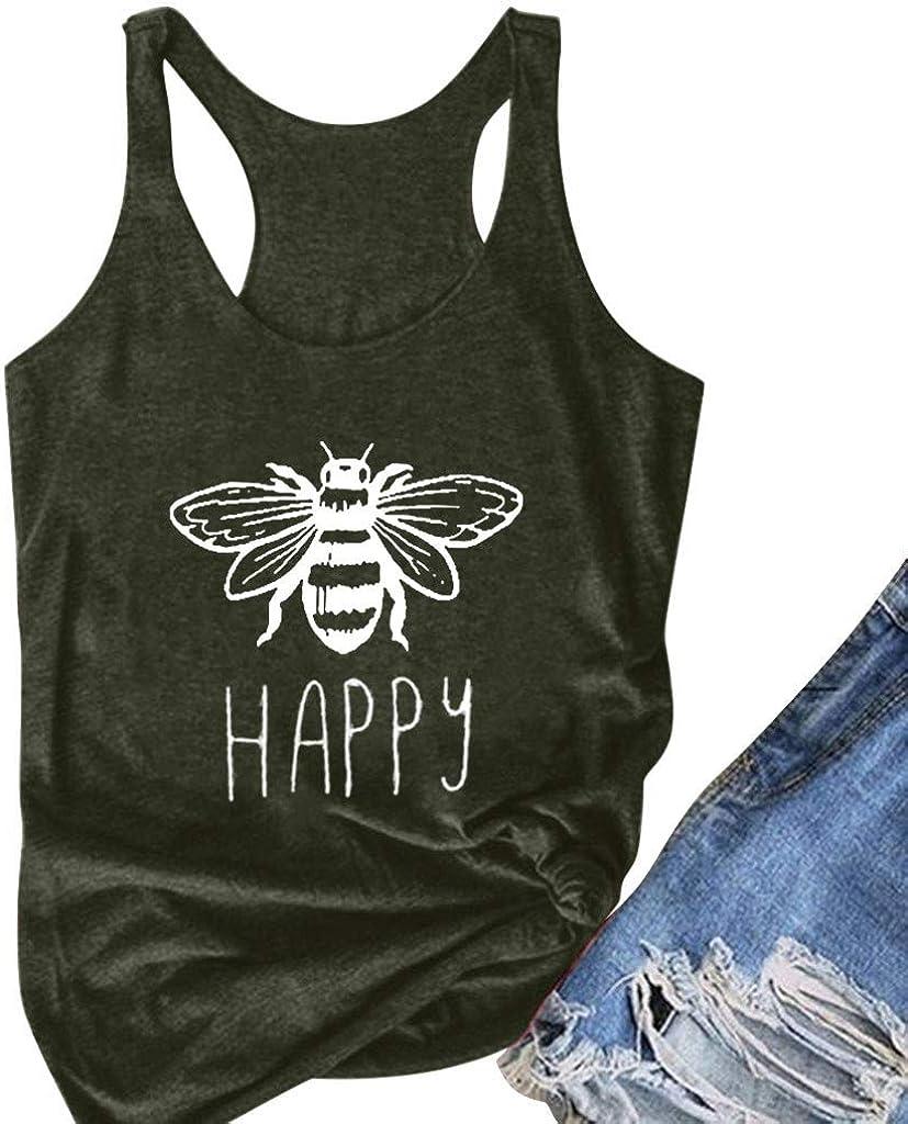 VEKDONE Women Graphic Tee Bee Happy Flowy Racerback Tank Tops T-Shirt Blouse Plus Size