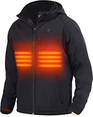 Men's Soft Shell Heated Jacket with Detachable Hood with Battery and Charger, Windproof Electric Coat Outerwear for Men