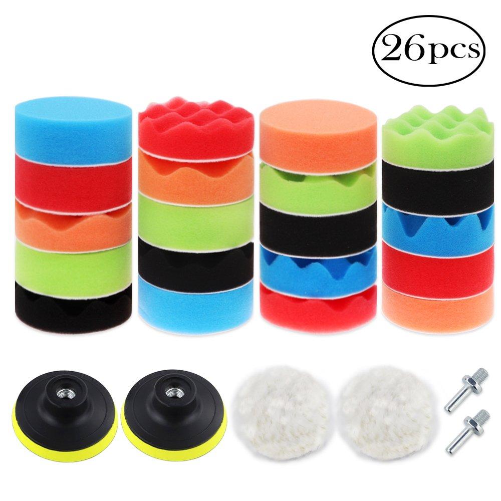 Coceca 26PCS 3 Inch Car Foam Drill Polishing Pads, Buffing Sponge Pads Kit for Car Sanding, Polishing, Waxing,Sealing Glaze