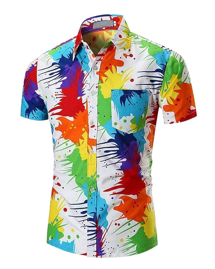 UUYUK Men Shirt Short Sleeve Beach Vogue Casual Printed T-Shirts