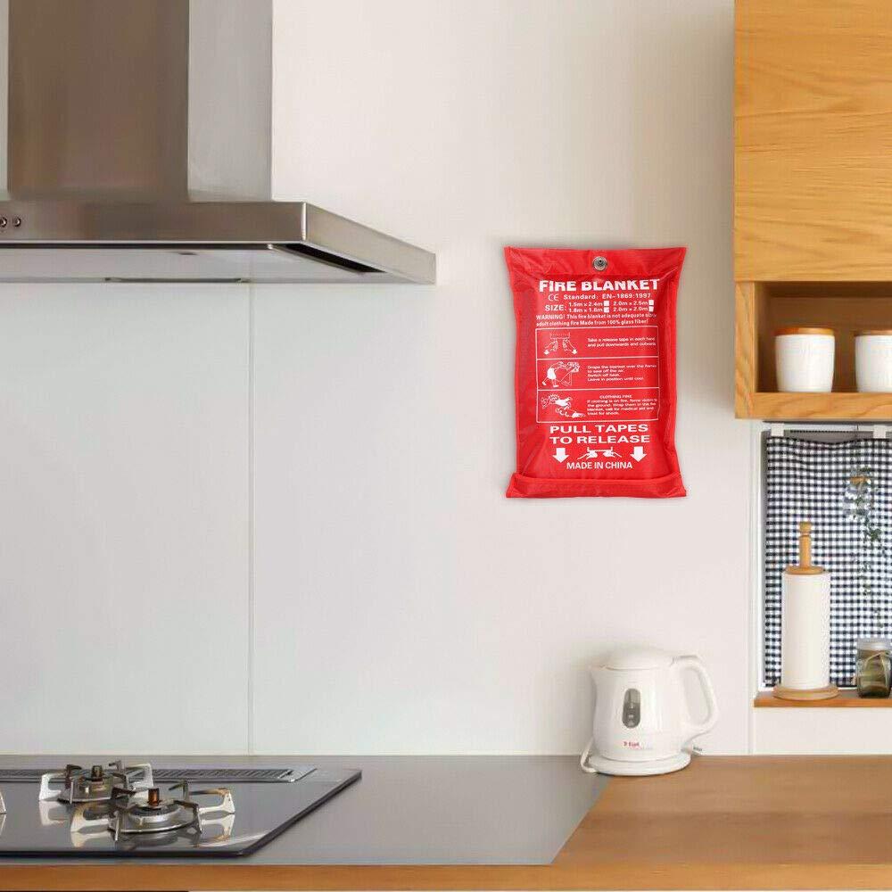 Manta ign/ífuga SENRISE de liberaci/ón r/ápida en caso de emergencia la oficina el hogar 1 x 1 m ideal para la cocina f/ácil de instalar y r/ápido de desplegar en caso de emergencia blanco
