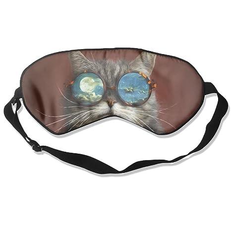 Ministoeb Mascarilla para Dormir para Gato artístico con Gafas y Ojos de sueño, cómoda máscara
