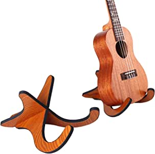 TinaWood Wooden Ukelele Stand Holder Musical Instrument Stand Concert Portable Wood Stand