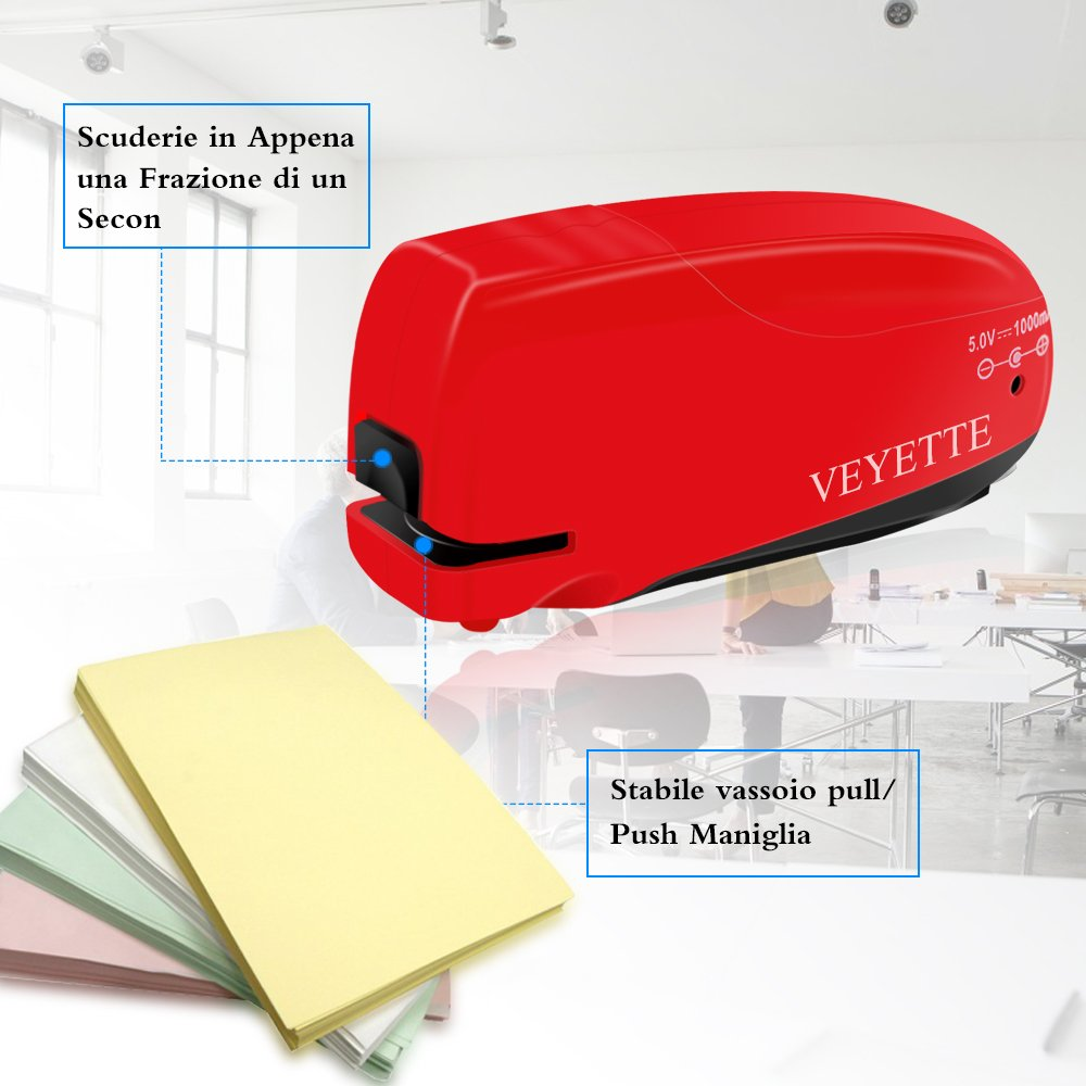 Elektroheftgerät, 10 Blatt, Kunststoff, Metall, Elektronik, Kassettenaustausch Elektrischer Hefter