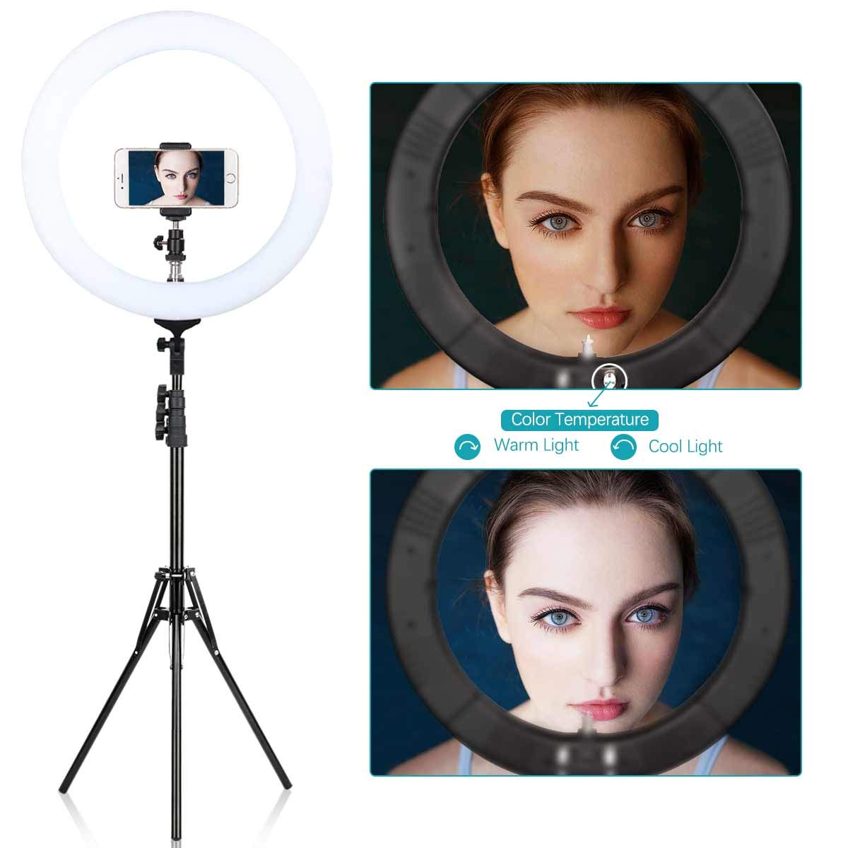 ZOMEi 18'' Dimmable LED Ring Light for Makeup Selfie Photographic Ring Light by ZoMei