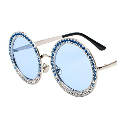 4a59f26e74d4 Fashion Round Sunglasses Women Designer High-Quality Decorative Diamond Sun Glasses  Female UV (blue)  Amazon.co.uk  Clothing