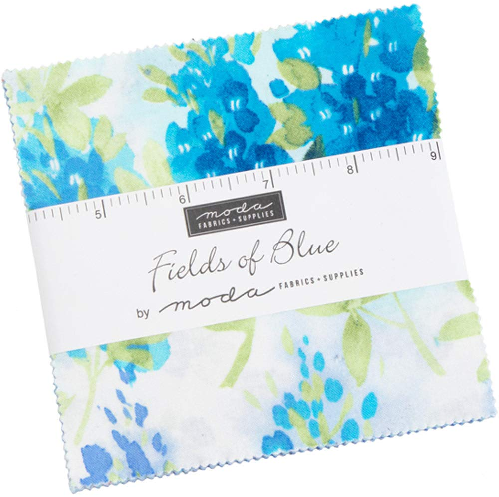 Fields of Blue Charm Pack by Moda Classics; 42-5 Inch Precut Fabric Quilt Squares