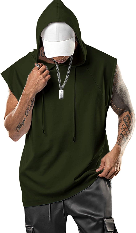 Aixdir Mens Workout Hooded Tank Tops Bodybuilding Muscle Cut Off T Shirt Sleeveless Gym Hoodies