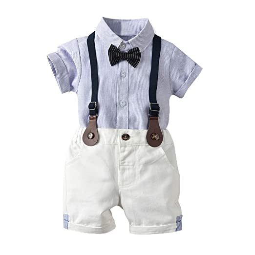 2f3ca09c9d22e Amazon.com: Fanteecy Toddler Baby Boys Infant Gentleman Bowtie Shirt ...