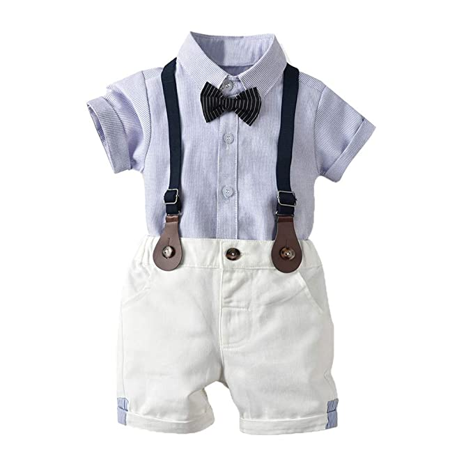 58a0a551c Amazon.com: Fanteecy Toddler Baby Boys Infant Gentleman Bowtie Shirt ...