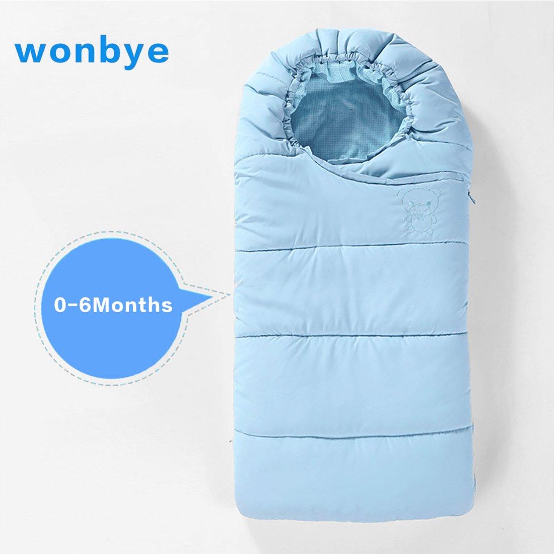 wonbye Universal Baby Stroller Sleeping Bag Baby Bunting Bag (Blue 0-6 Months)