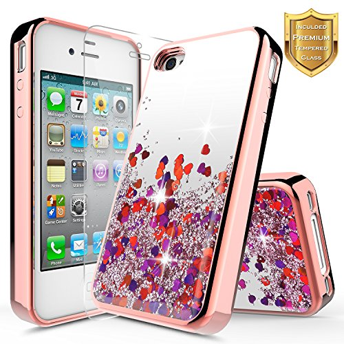 iPhone 4 Case, iPhone 4S Case w/[Tempered Glass Screen Protector], NageBee Glitter Liquid Quicksand Waterfall Floating Flowing Sparkle Shiny Bling Diamond Girls Cute Case -Electroplate Rose Gold
