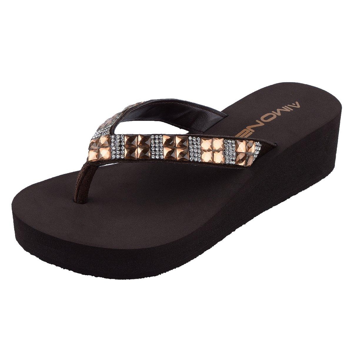 618fea8fc AIMONE Womens Delphine Mid Heel Rhinestone Brown Flip Flop Thongs - Casual Women s  Shoes