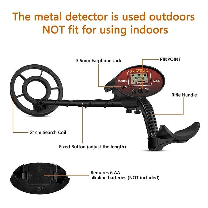 ÖTEK Detector de Metales para Adultos con Pinpoint, Localización Precisa, Alta Sensibilidad y Bobina Impermeable, Incluye Bolsa y Pala Plegable: Amazon.es: ...