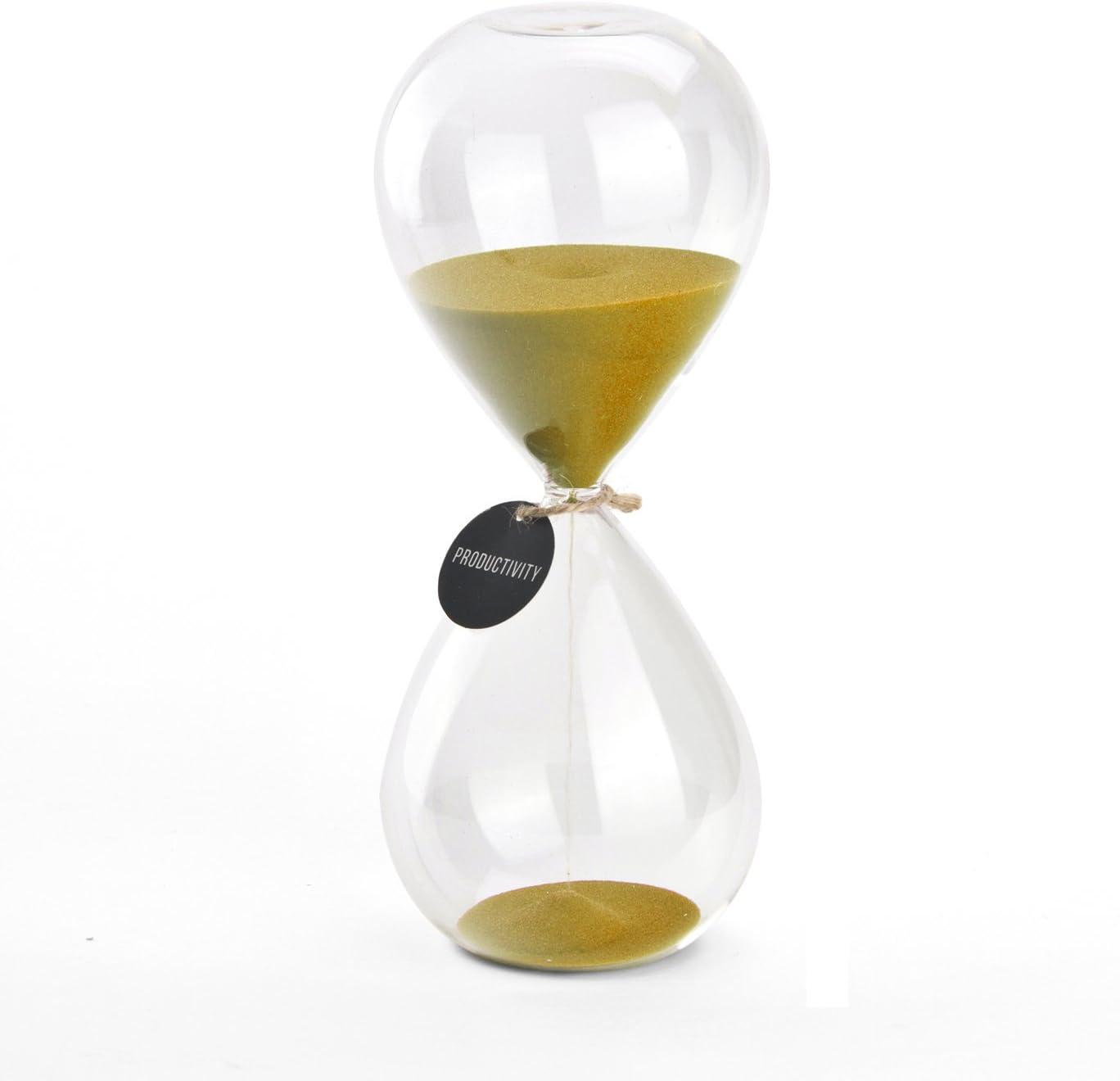Hourglass Sand Timers - SWISSELITE Biloba Hourglass Sand Timer, 8.2 Inch Gold Sand Timer In 45 Mins