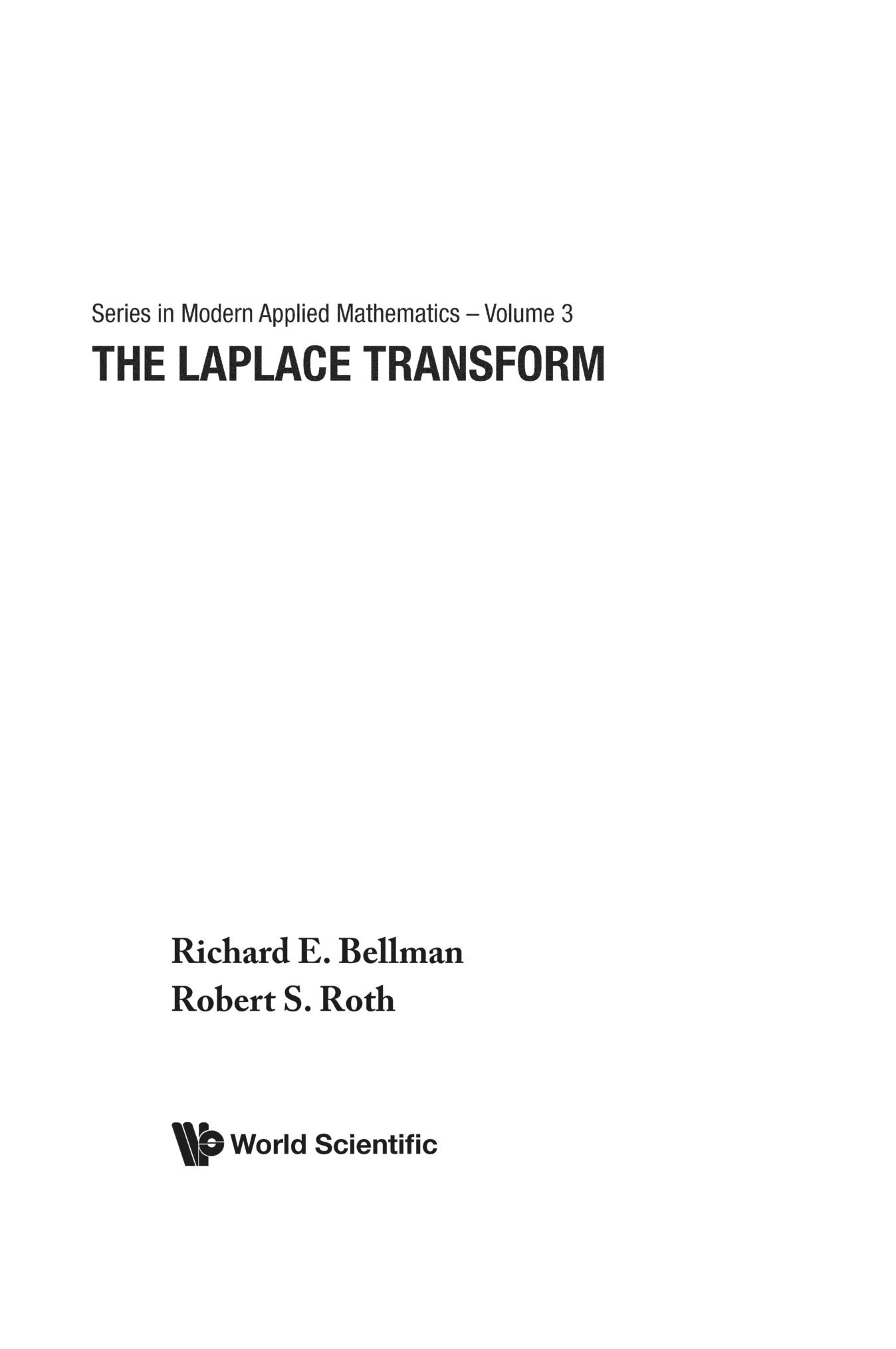 Laplace Transform, The (Series in Modern Applied Mathematics)