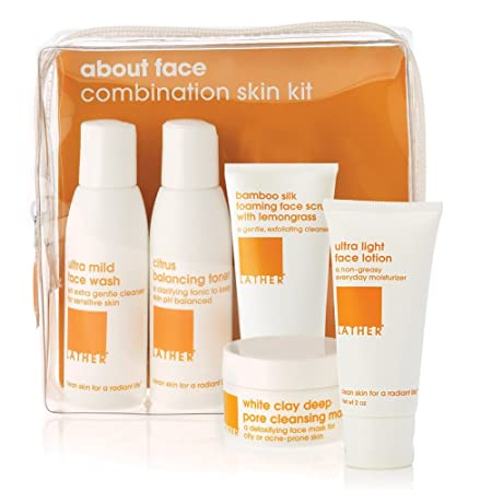 LATHER About Face Combination Skin Care Kit travel friendly skin care kit contains everything needed to banish dirt and oil while hydrating where you need it, leaving skin in optimum balance