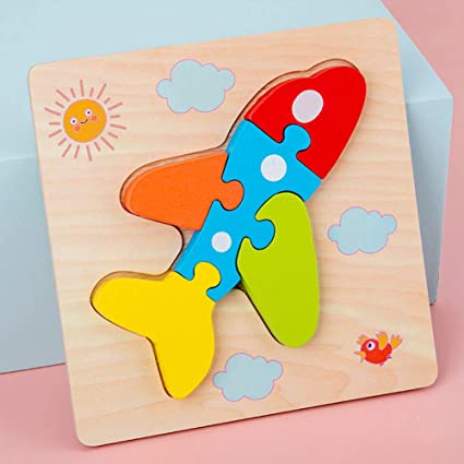 Leoie 3D Wooden Jigsaw Puzzles Animal Puzzles for Toddlers Kids Educational Toys for Boys and Girls Aircraft