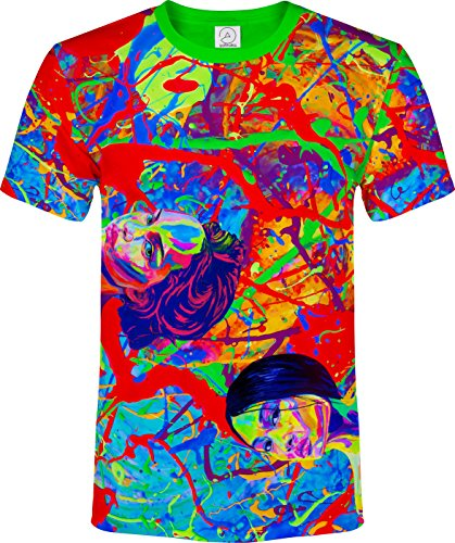 Designed Hot Chicks Oversized Printed Space Fitted 3D Pattern Men T-Shirt