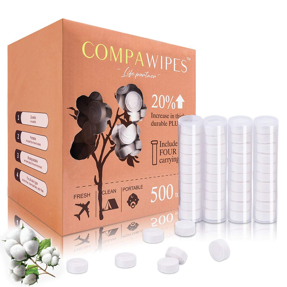 Compressed Towels Toilet Paper Tablets - Camping Wipes Travel washcloths Coin Tissue Towel Tablets 500 Bulk Pack with 4 Carrying Cases by COMPAWIPES