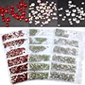 1728pcs Spangle Nail Art Rhinestones AB Nail Crystal Flat Back Circular Glass Hotfix Studs Stones for 3D Nails Art Decorations Manicure Tools 1.6-3.0mm