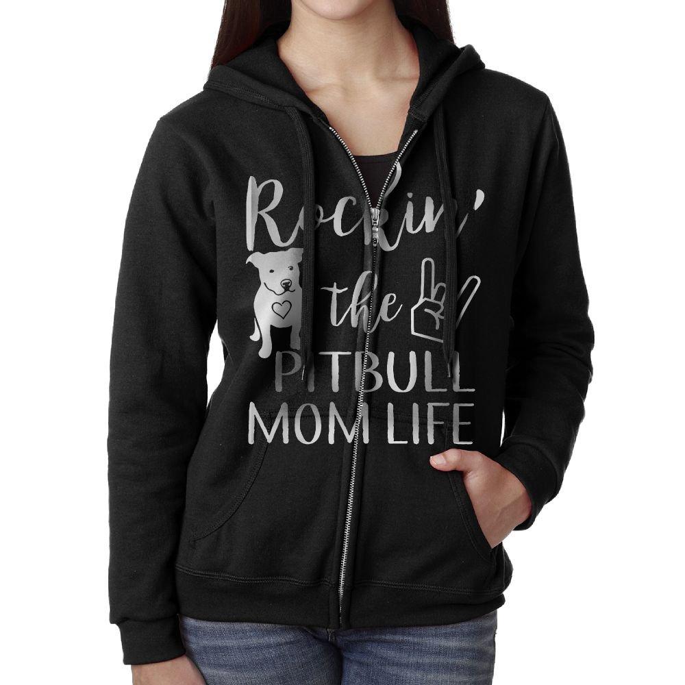 Rockin' The Pitbull Mom Life Sweater Shirt Zipper Jacket Sun Hooded Sweatshirt For Woman Fit Travel Black Large