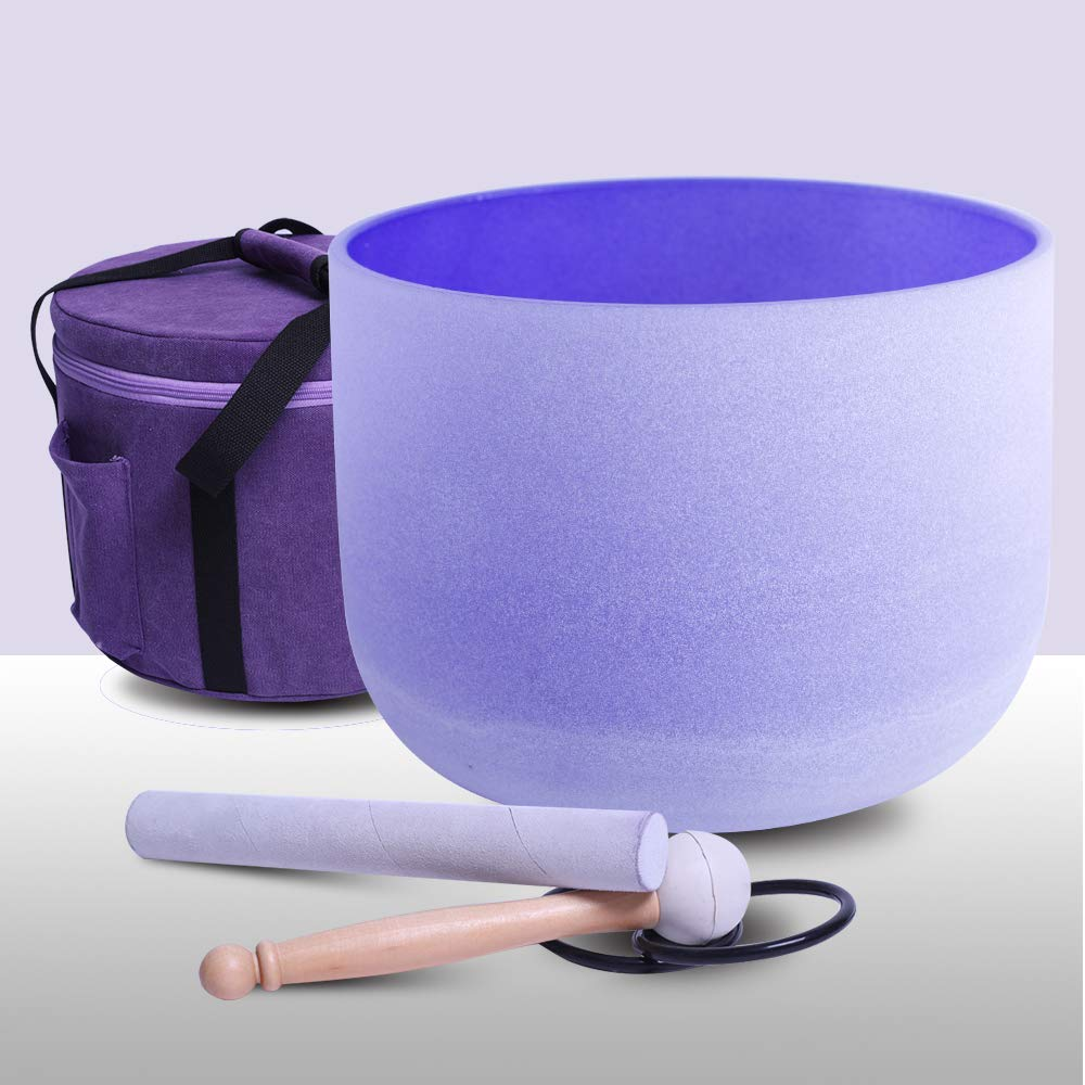 432Hz Perfect Pitch B Note Crown Chakra Purple Colored Frosted Quartz Crystal Singing Bowl 8'' with one carrier one mallet and o-ring included