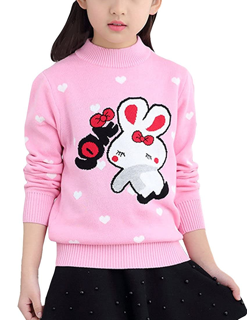 MFrannie Girl Thick Wool Knit Casual Lovely Rabbit Heart Dot Sweater Pink 6-7T gsz0845-04