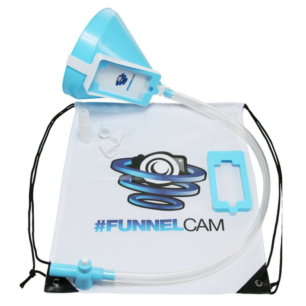 FunnelCam - Blue Beer Bong with Patented Valve, Premium No-Kink 2.5ft Tube and Extra-Large Funnel || Free Detachable Phone Mount, Bag, Mouth Pieces, Stickers Included