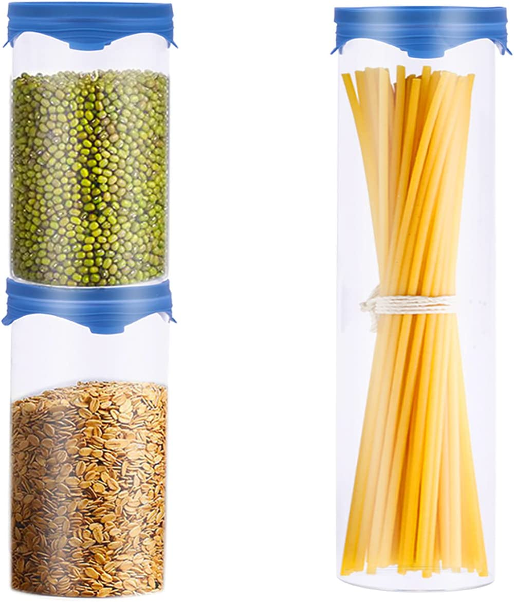 TIBLEN [3-Pack] Glass Food Storage Jars Cylinder Containers with Lids, Borosilicate Glass Ecofriendly Airtight Canisters for Coffee, Sugar, Candy, Cookie, Spice, Large Spaghetti, Pantry Organization