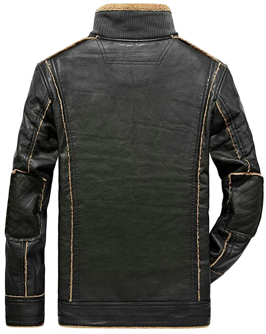 Lutratocro Mens Fleece Lined Outdoor Slim Fit Thickened Faux Leather Winter Moto Jacket