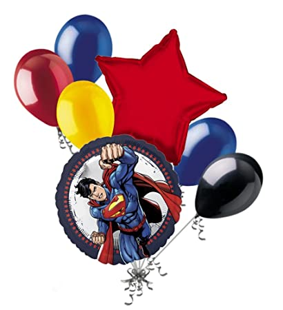 Amazon.com: 7 pieza Superman Cartoon Balloon Bouquet Party ...