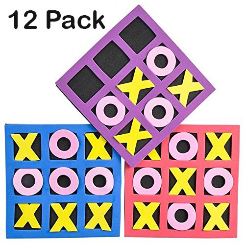 "Tic Tac Toe Mini Foam Game -12 5"" X 5"" Boards For Kids And"