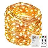 Kohree 120 Micro LEDs Fairy String Lights Battery Powered 40ft Long Ultra Thin String Copper Wire Lights with Remote Control and Timer Perfect for Weddings,Party,Bedroom-2C Batteries powered