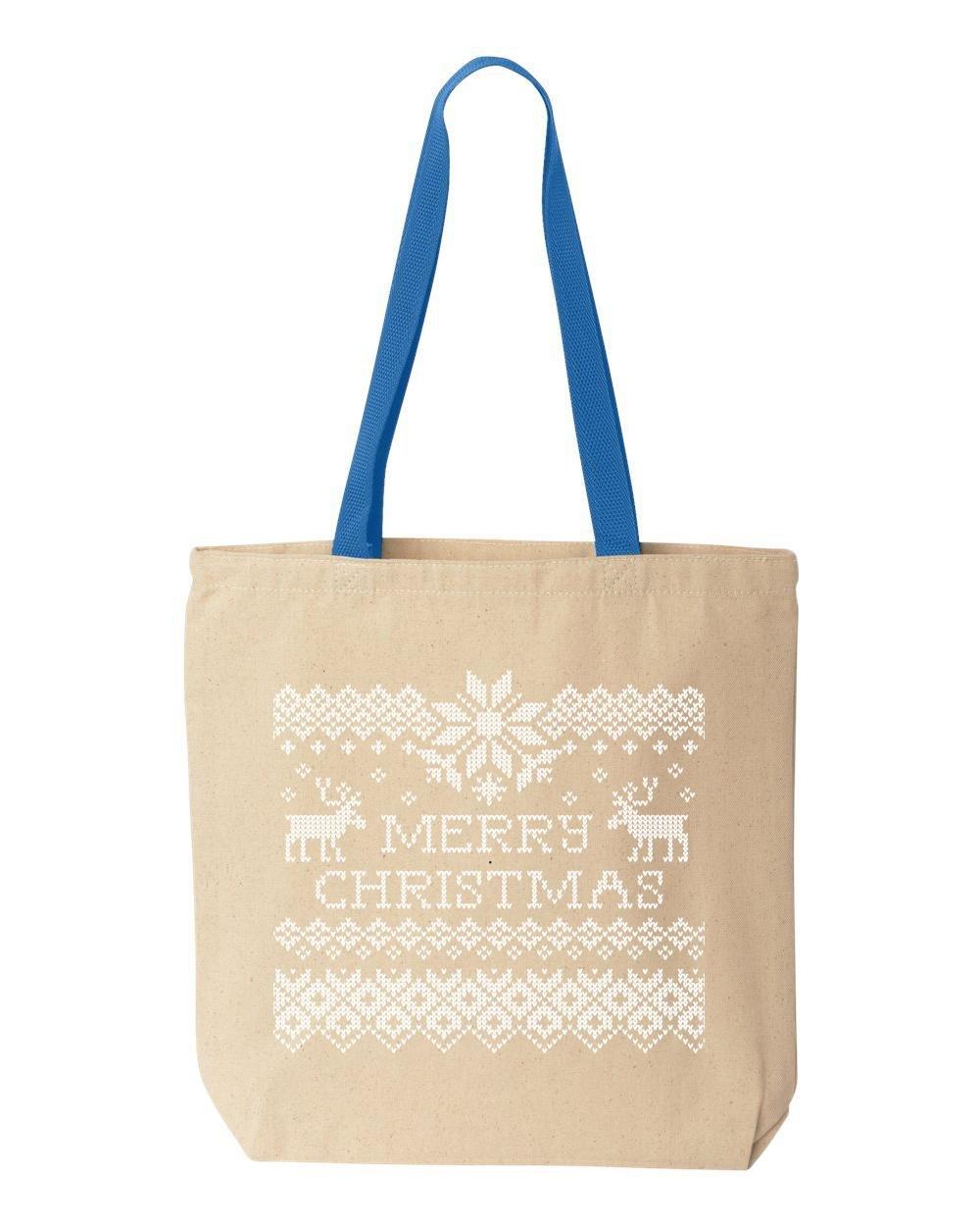 shop4ever Merry Christmasトナカイコットンキャンバストートバッグクロスステッチ再利用可能なショッピングバッグ10 oz色付きハンドル 10 oz ブルー S4E_1215_ChristRinds_TB_8868_R Blue_3 B072L2FNF9  ナチュラル-ロイヤルブルー