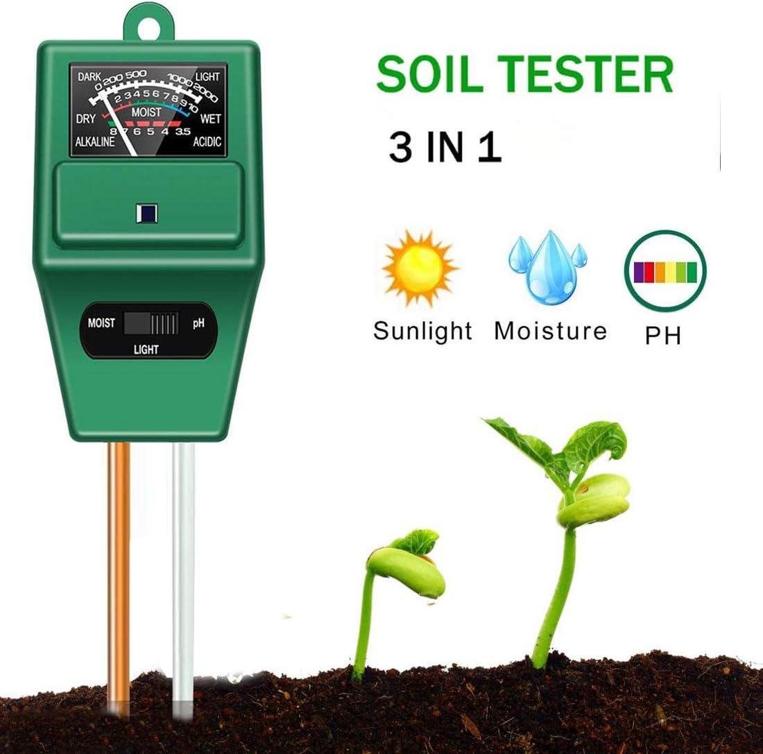 ZHONGGEMEI Medidor de Suelos, medidor de Humedad de Plantas 3/1 / medidor de acidez de luz/pH, Humedad/Ácido y Álcali para Plantas de Suelo/Flor/Césped en Interior o Exterior