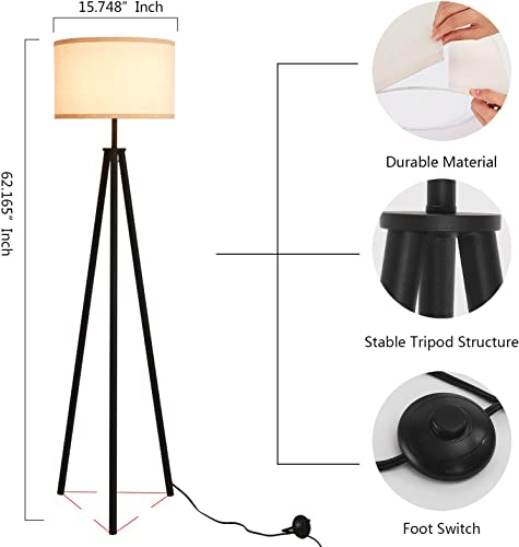 Mid Century Metal Tripod Floor Lamp,Contemporary Minimalist Standing Floor Light