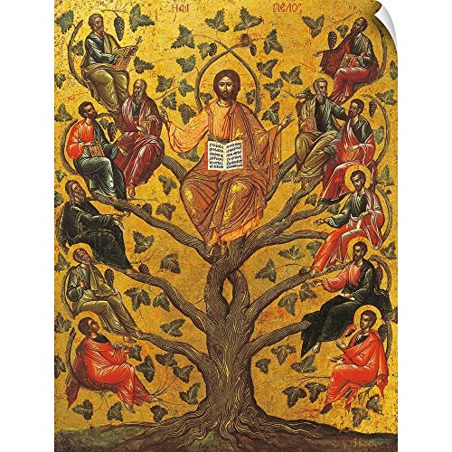 CANVAS ON DEMAND Christ and The Apostles, Icon, 17th Century Wall Peel Art Print, 12