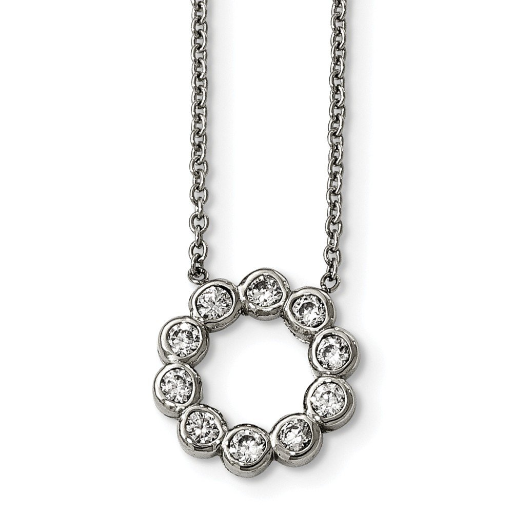 Length 17.25 in, Jay Seiler Stainless Steel Polished Cubic Zirconia Necklace