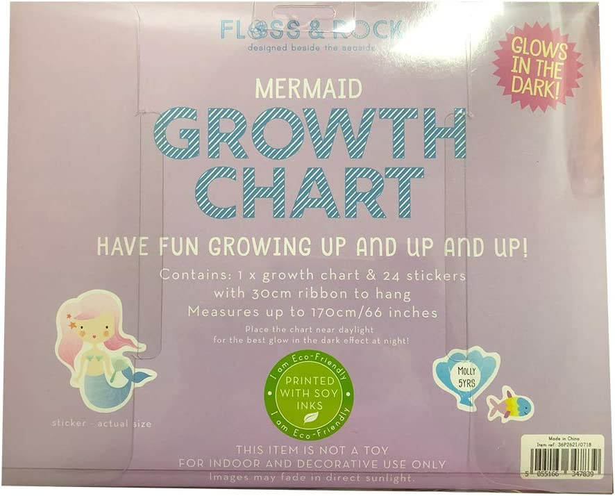 Floss /& Rock Mermaid Glow in The Dark Growth Chart