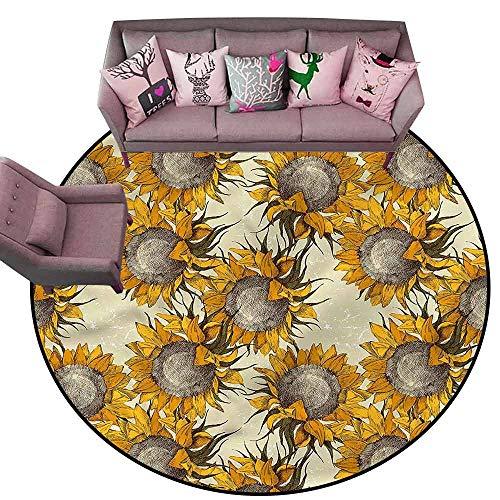 (Anti-Slip Toilet Doormat Home Decor Floral,Sketch Sunflowers Autumn Diameter 66